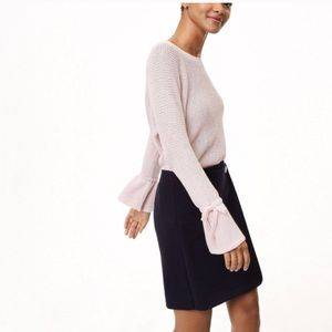 LOFT blush pink sweater with tie sleeves